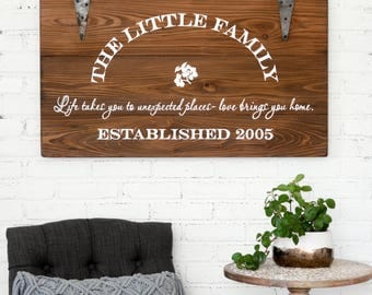 Family Sign, Personalized Sign, Established Sign, Rustic Artwork, Wooden Sign