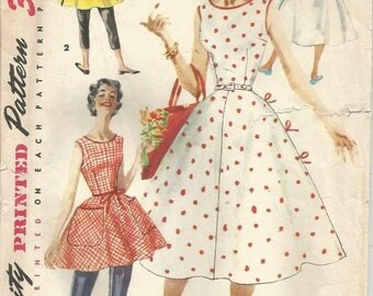 1950s Wrap Dress V Back Neckline Full Skirt Sundress or Tunic Easy to Sew Simplicity 1662 Size 16 Bust 34 Women's Vintage Sewing Pattern