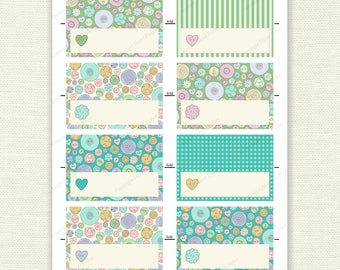 Pastel Buttons name place cards - party printables, vintage button drawings, sewing notions illustration - Digital Instant Download NC004