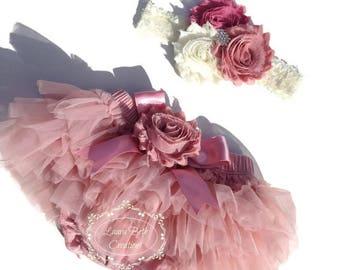 Baby Tutu Bloomer Set, Dusty Rose Chiffon Tutu Bloomer and Headband, Photo Prop, Newborn Bloomer, Vintage Pink Bloomer, Ruffle Diaper Cover