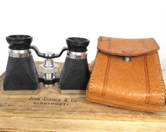 Vintage Opera Glass Binoculars by Ofuna with Original Leather Case 3x10 Power Occupied Japan