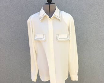 Vintage Sheer Off-White Blouse / Button Up Blouse with Pleated Embroidered Pockets, Collar