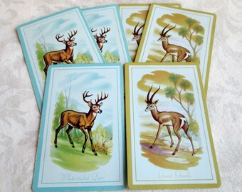 6 Deer & Gazelle Vintage Playing Cards, 3 White-Tailed Deer/3 Grant Gazelle