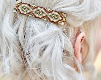 Boho Barrette - Green and Brown - Beaded Barette - Hair Clip