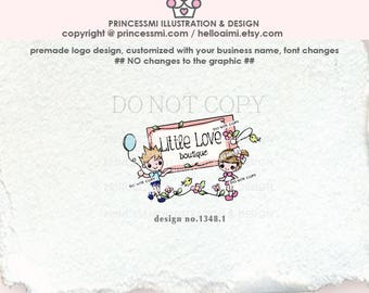 1348-1 children logo, kids business logo, Premade Logo Design,boy and girl logo clothing tag logo boutique logo, business card, banner