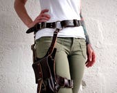 Premium Unisex Thigh Harness with Leather Bag - Brown - steampunk - burning man - apocalypse, Please read Description for size