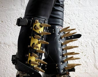 Leather Dystopian Shin Guards with Bullets - Multi - mad max, apocalypse, fury road, burning man, please read description carefully for size