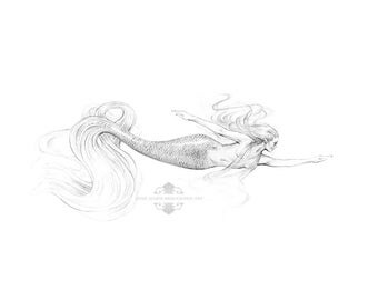 10x8 inch PRINT Joyous Mermaid Art Graphite Pencil Drawing Black and White Tattoo Beautiful Swimming Mermaid Art Signed