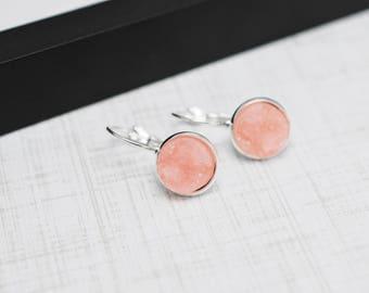 Light Pink Earrings, Pink Druzy Earrings, Druzy Earrings, Faux Druzy Earrings, Lever Back Earrings, Pink Drusy Earrings, Silver Earrings