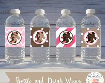 Horse Drink Wraps INSTANT DOWNLOAD, Horse Birthday Party, Horse Baby Shower, Horse Bottle Wraps, Horse Printable Party Decorations