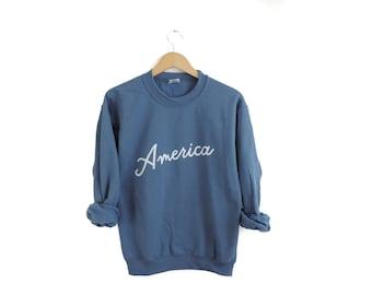 New Retro America USA Crewneck Sweatshirt // Size S-3XL // You Pick Color