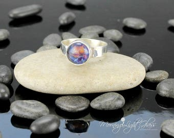 Cosmos Ring - 925 Sterling Silver -  Lampwork Glass - Adjustable Band
