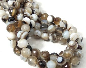 Agate, Brown/White/Black, 8mm, Round, Faceted, Banded, Gemstone Beads, Small, 15 Inch Strand - ID 695