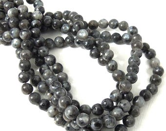 Larvikite Bead, 6mm, Gray/Black with Flash, Round, Smooth, Small, Natural Gemstone Beads, 15.5 Inch Strand - ID 2230