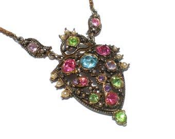 Pastel Rhinestone Pendant Necklace Pink Blue Green and Purple on Gold Tone - Vintage Jewelry