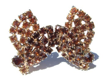 Golden Brown Rhinestone Clip Earrings Signed Weiss Double Leaf Rhinestone Jewelry Vintage Jewelry