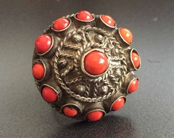 Antique Kuchi Ring with Red Coral Glass Stones Huge Statement Ring on Silver Tone Metal Afghanistan Middle East, Vintage Jewelry Size 9.5