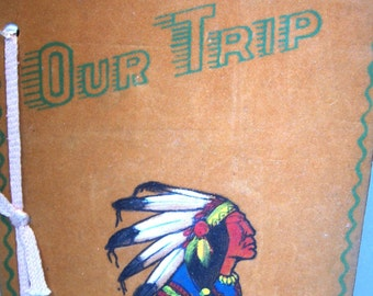 Vintage 1950's Carlsbad Caverns Travel Book-Our Trip-Flocked- Native Chief in Headdress-Pages Unused-FREE SHIPPING!