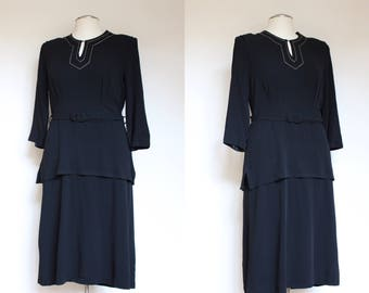 vintage 1940s black rayon tiered dress   40s black afternoon dress with belt and embroidered neckline   L