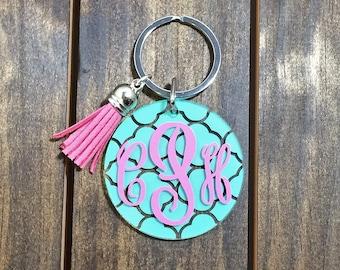 Monogram Keychain with Tassel - Monogrammed Keychain - Personalized Keychain