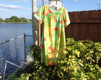VINTAGE 1960's Hawaiian Print Shift Dress by Sears Roebuck and Co. - available