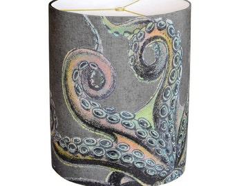 LARGE Linen Lava Rock Octopus Lamp Shade - Sea Creature Lamp Shade - 13 14 15 Inch Drum Lamp Shade - Custom Made to Order Lamp Shade