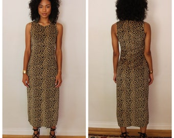 90's Vintage Leopard Print Maxi Dress - Size S/M - Made in USA - Grunge - Clueless - Witch