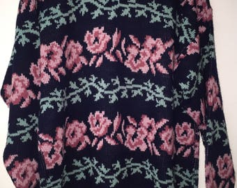 Vintage Women's Cable Knit Sweater By Private Eyes Size M Floral USA RN#23285