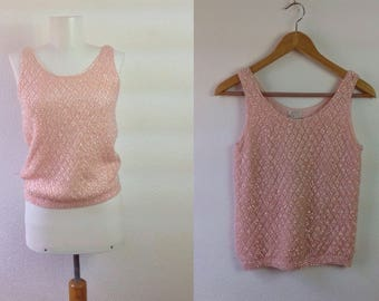 Vintage 60s Sequin Top  Pink Sequin Shell Made in British Hong Kong  Trophy Top  Extra Small XS  Bust 30  1950s Evening Top  Trophy Top