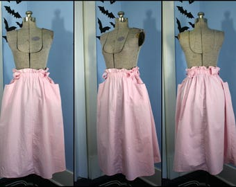 Pretty in Pink Womens Vintage 1980s 1990s Pink Midi Skirt with Large Pockets Modern Small Medium Retro Molly Ringwald