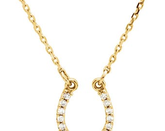Diamond Horseshoe Necklace - 14k, 18k Yellow, Rose, White Gold & Platinum. Graduation, Equestrian, Horse Lover, Good Luck Gift. Fine Jewelry