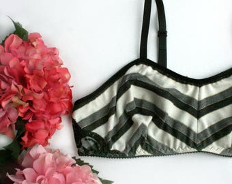Striped Jersey Wireless Bra Bralette Handmade Lingerie Made to Order
