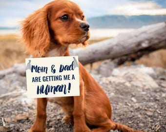 Mom & Dad Are Getting Me A Human Dog Sign | Baby Announcement Banner | Social Media Announcement Pic USA 1449 BB