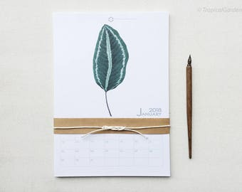 2018 Calendar - Tropical Leaf Calendar, Watercolor Calendar, Botanical Calendar / 8x11 Monthly Calendar, Wall Calendar