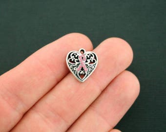 2 Breast Cancer Charms Pink Ribbon Awareness with 9 Pink Rhinestones 2715