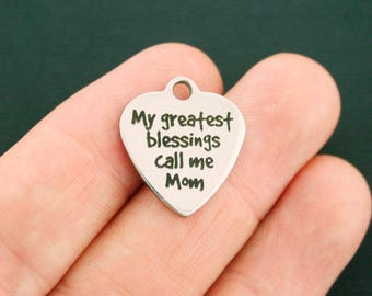 Mom Stainless Steel Charm - My Greatest Blessings Call Me Mom - Exclusive Line - Quantity Options - BFS1537