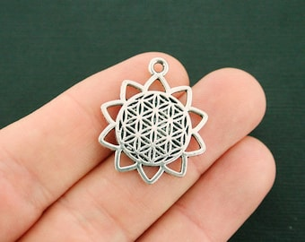 5 Flower of Life Charms Antique Silver Tone - SC7524 NEW3