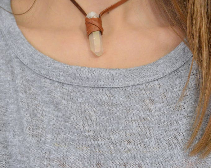 Aura Quartz Necklace, Leather Wrapped Necklace, Quartz Jewelry, Druzy Necklace, Quartz Point, Crystal Necklace, Leather necklace, Quartz