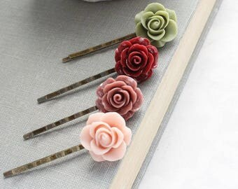 Floral Bobby Pins Deep Red Wine Hair Accessories Blush Pastel Pink Rose Hair Clip Green Flower Bobbies Romantic Vintage Style Dusty Rose