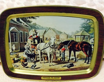 Vintage Currier and Ives Tray Metal Tin Preparing for Market Farmhouse Lap Serving