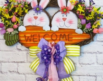 Easter Wreath, Easter Bunny Wreath, Easter Bunny Welcome Wreath, Easter Decoration, Spring Wreath, Oval Easter Wreath, Grapevine Easter