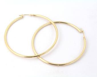 14K Gold large hoop earrings, tube elegant earrings, gift for her, gypsy earrings for women, gift for her, minimalist earrings, yellow gold