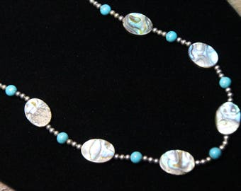 Abalone Paua Shell Necklace with Turquoise balls N1793
