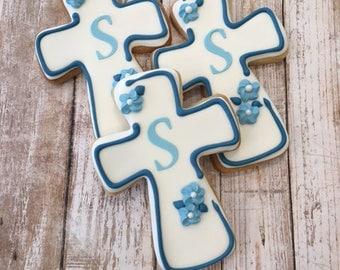 Baptism Blue Cross Cookie Favor, Confirmation, Communion, Baby Boy Cookie Favors - 1 dozen