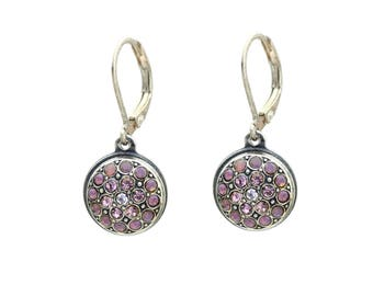 Small Dangle Earrings with Rose Opal and Light Rose Swarovski Crystals Round Shaped Diamond Earring