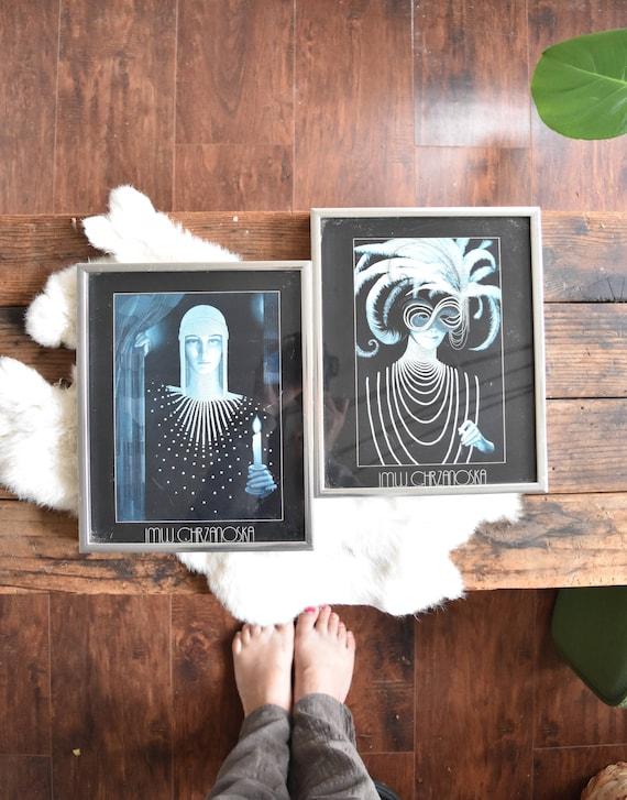 framed jmw chrzanoska litho art prints / masquerade / intrique