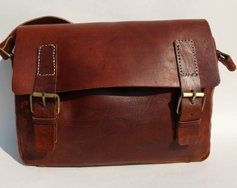 Leather messenger, leather cross body bag, browm laptop bag sacoche marron cuir