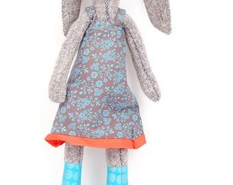 Rabbit Stuffed , Animal Doll , Soft Sculpture , Soft Toy, gray woven silk Bunny Doll, Cloth Doll, Rag Doll, Fabric Doll, Plushie Softie doll