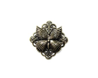 Brass Butterfly Filigree Connector / Pendant, Qty: 1