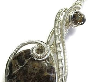 """Turritella Agate and Sterling Silver Wire-Wrapped Pendant Necklace with Swarovski Crystal; """"Coriolis"""""""